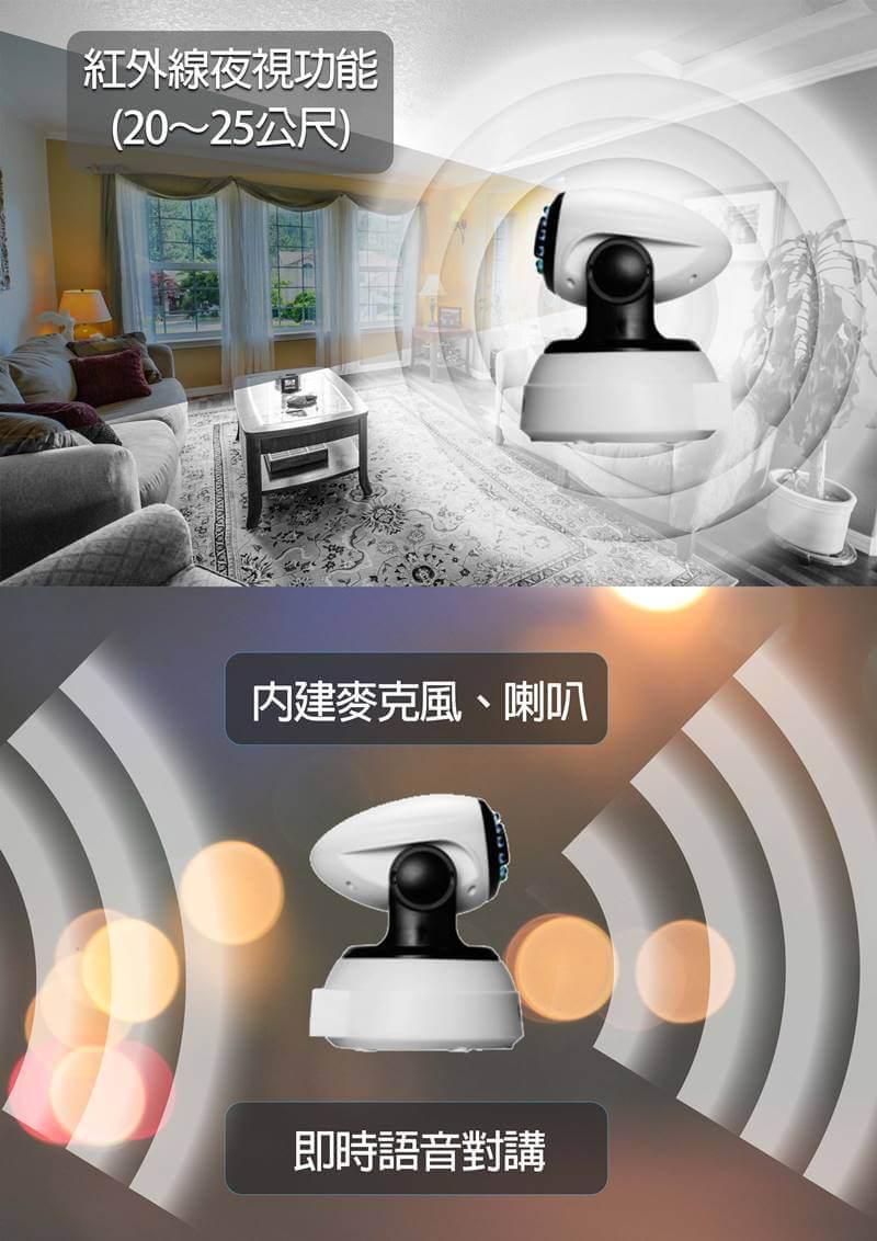 0無線攝影機 頁2 - SK-I201HD 1080P 室內旋轉夜視 可對講錄影攝影機