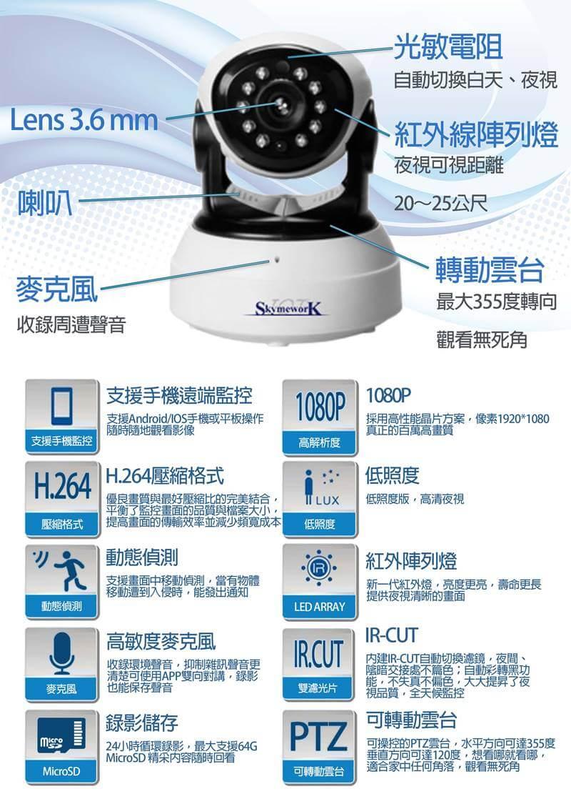 0無線攝影機 頁4 - SK-I201HD 1080P 室內旋轉夜視 可對講錄影攝影機